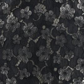 Tissu Dentelle fleur simili cuir x 10cm