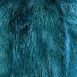 ♥ Coupon tissu 150 cm X 140 cm ♥ Fourrure Yeti - bleu canard