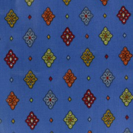 Coated cotton fabric Calissons - blue x 10cm