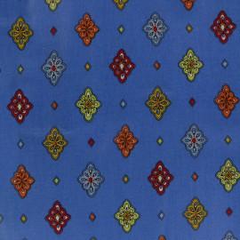 Tissu enduit coton Calissons - bleu x 10cm
