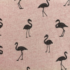 Tissu sweat envers minkee chiné Flamingo glitter noir - vieux rose x 10cm