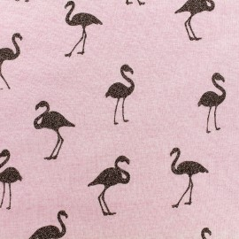 Tissu sweat envers minkee chiné Flamingo glitter noir - rose x 10cm