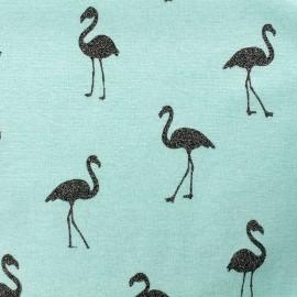 Tissu sweat envers minkee chiné Flamingo glitter noir - menthe glacée x 10cm