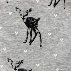 Tissu sweat envers minkee Bambi - gris chiné x 29cm