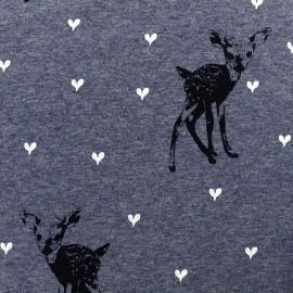 Tissu sweat envers minkee Bambi - bleu chiné x 29cm