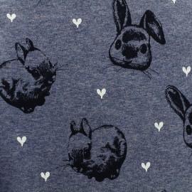 Sweat with minkee reverse side Fabric Rabbit - mocked blue x 10cm