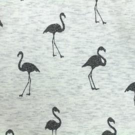 Mocked sweat with minkee reverse side Fabric Flamingo glitter black - ecru x 10cm