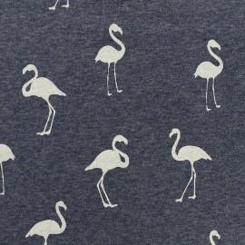 Mocked sweat with minkee reverse side Fabric Flamingo glitter black - blue x 10cm