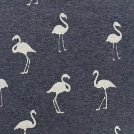 Tissu sweat envers minkee chiné Flamingo glitter noir - bleu x 10cm