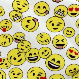 Tissu sweat envers minkee chiné Smiley - jaune x 10cm