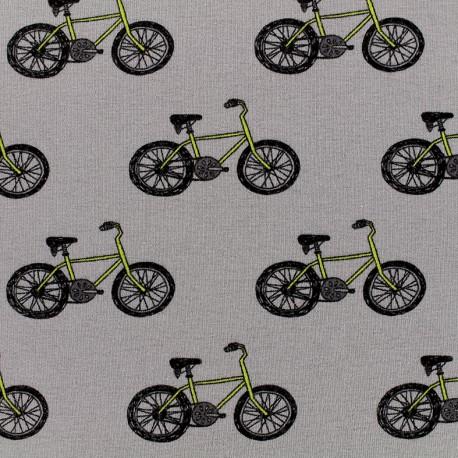 Tissu jersey Poppy Bicycle Boogie - gris x 10cm