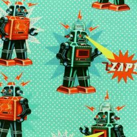 Tissu Jersey Robot - bleu givré x 21cm