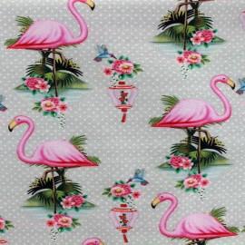 Tissu Jersey Flamingo - gris x 10 cm
