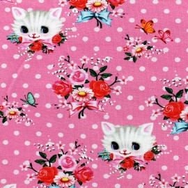 Jersey fabric Kittans - pink x 10 cm