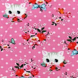 Tissu Jersey Kittans - rose x 10 cm