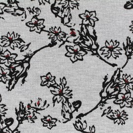 mocked viscose jersey fabric Cherry Blossom by Penelope - light grey x 10cm