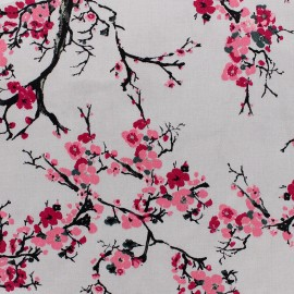 Tissu satin Pink Blossom by Penelope® - gris x 10cm