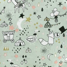 Tissu Poppy Circus Stars - vert clair x 30cm