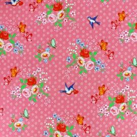 Tissu coton Swallows - rose x 10cm