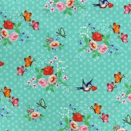 Tissu coton Swallows - vert d'eau x 10cm