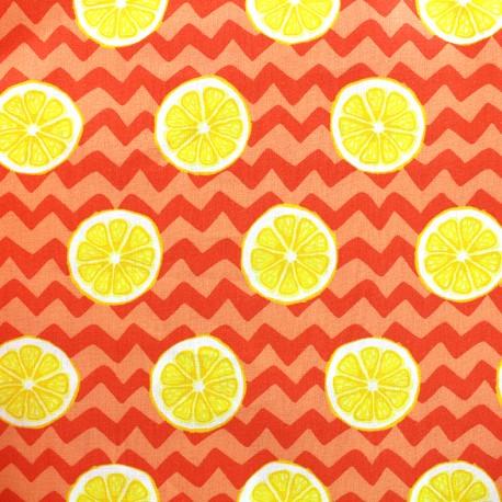 Poppy cotton fabric Lumineus lemon - orange x 10cm