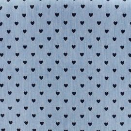 Tissu Jeans fluide Petit coeur - marine/bleu x 10cm
