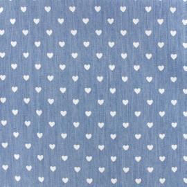 Tissu Jeans fluide Petit coeur - blanc/bleu x 10cm