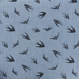 Tissu Jeans fluide Hirondelle - marine/bleu x 10cm