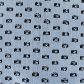 Tissu Jeans fluide Photographe - marine/bleu x 10cm
