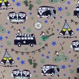 Tissu coton Happy Van - taupe x 15cm