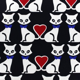 Tissu Gabardine Lycra légère Love cats - noir x 15cm