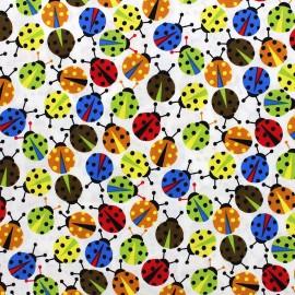 Tissu coton Ladybug multi - blanc x 10cm