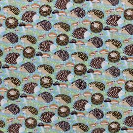 Tissu coton Hedgehog - bleu clair x 10cm