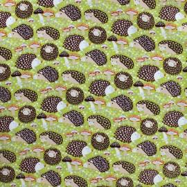 Tissu coton Hedgehog - vert clair x 10cm