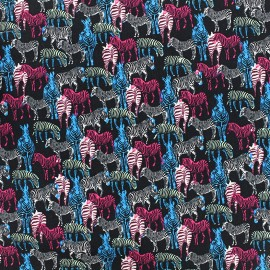Tissu coton Zebra multi - noir x 10cm