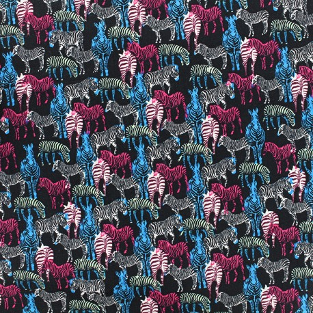 Cotton fabric Zebra multi - black x 10cm
