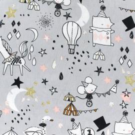 Tissu Poppy Circus Stars - gris x 30cm