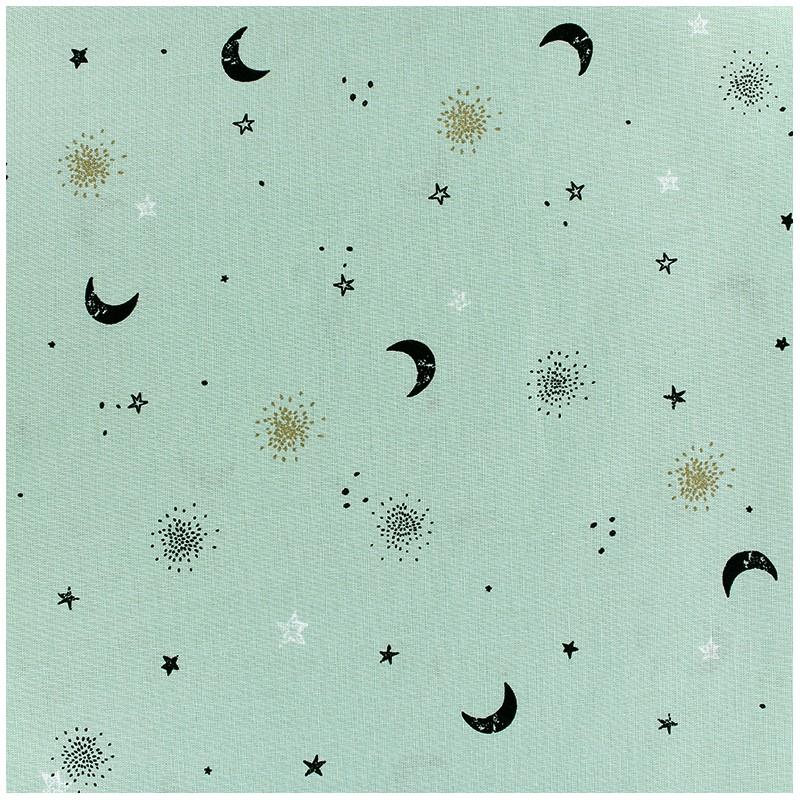 Poppy cotton fabric circus stars moon light green x 10cm for Moon pattern fabric