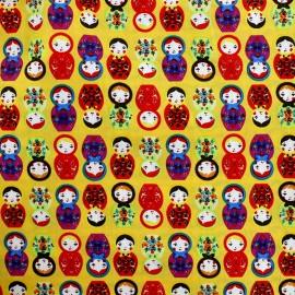 Tissu coton Matriochka remix - jaune x 10cm