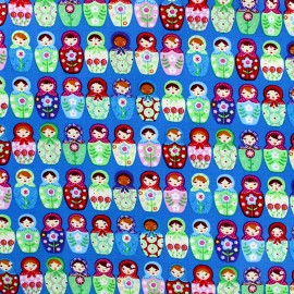 Cotton fabric Matriochka - blue x 10cm