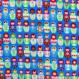 Tissu coton Matriochka - bleu x 10cm
