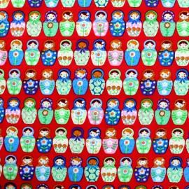 Tissu coton Matriochka - rouge x 10cm