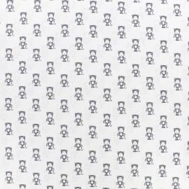 ♥ Coupon 45 cm X 140 cm ♥ Poppy cotton fabric Tiny Creatures Monkey - white