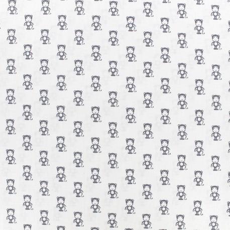 Poppy cotton fabric Tiny Creatures Monkey - white x 10cm