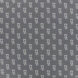 Tissu Poppy Tiny Creatures Monkey - gris x 10cm