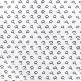 Poppy cotton fabric Tiny Creatures Lion - white x 10cm