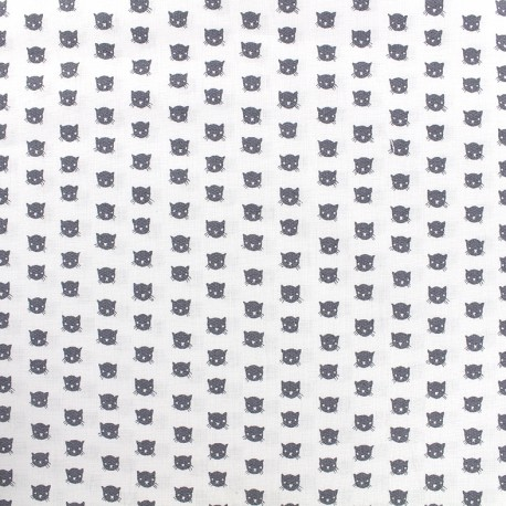Poppy cotton fabric Tiny Creatures Cats - white x 10cm