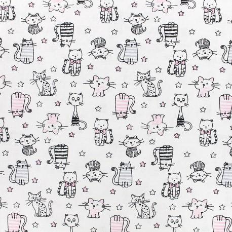 Tissu Poppy Shining Kitty - blanc x 10cm