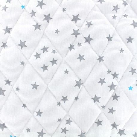 Quilted cotton fabric Etoiles - grey/turquoise x 10cm