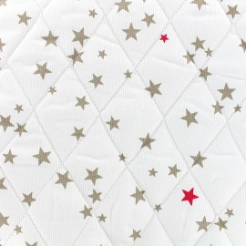Quilted cotton fabric Etoiles - taupe/rapsberry x 10cm